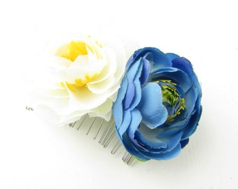 Ivory Blue Camellia Rose Flower Hair Comb Bridesmaid Ranunculus Rockabilly B48