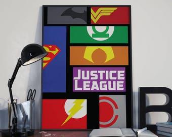 Dc comics Justice league inspired logos poster