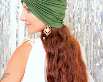 Fashion Turban Hat in Olive -  Women's Hair Wrap - Jersey Knit Head Covering - Lots of Colors