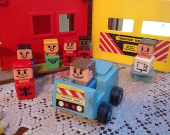 Vintage Playskool Rescue Center With 8 People and Squad Car and Helicopter