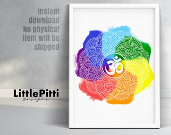 Mandala print, yoga print, mandala wall decor, mandala wall hanging, colorful mandala, om wall art, yoga gifts, chakra art, chakra print, om