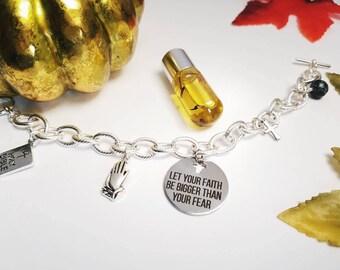 Silver Cross Charm Bracelet, Faith Over Fear Jewelry