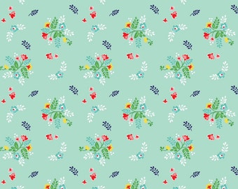 KNIT FABRIC: Vintage Market Floral in Mint by Tasha Noel for Riley Blake- 1 Yard