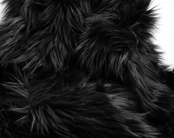 Black Fur Fabric Craft Squares - Craft Fur, Black Faux Fur Fabrics, Black Fake Fur, Black Faux Furs, Black Faux Fur Fabric