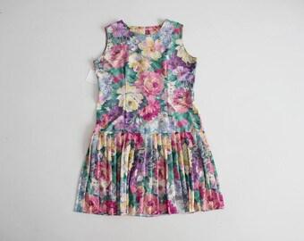 floral flapper dress | drop waist floral dress | pleated floral dress