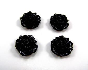 Set of 4 20 mm black resin flower cabochons