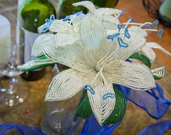 Silver and white lilies wedding bouquet blue heart center, faux flowers, fresh alternative