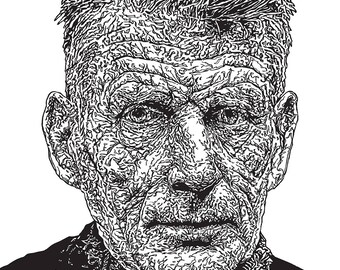 Samuel Beckett line drawing Illustration Print - Waiting For Godot, Ireland, Portrait, Author, Books, Literature, Theatre, Vintage