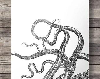 Octopus print, Nautical, coastal, kraken print, octopus tentacles, tentacles, Printable, wall art, art print, Huge A2 size Black and white