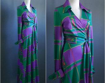 1970s diane von furstenberg wrap dress, DVF long wrap dress,  1970s maxidress, 1970s wrap dress, vintage diane von furstenberg, wrap dress