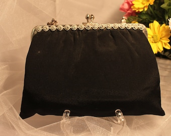 VIintage Black MOIRE JEWELED FRAME Purse in Excellent condition!