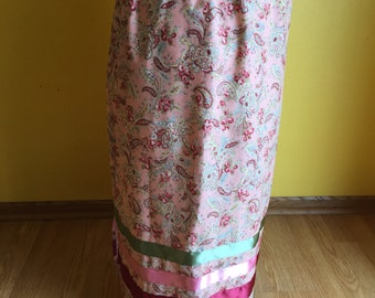 Pink Paisley Roses with Maroon, Pink and Sage green ribbonskirt