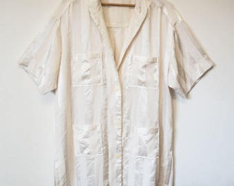 Satin button up over shirt