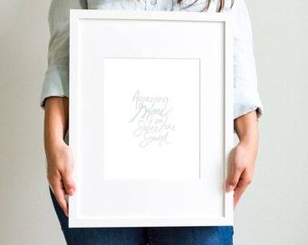 Amazing Grace Hand lettered Art Print, Brush lettering, Christian Art Print
