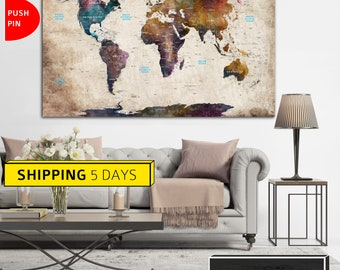 Colorful world map etsy world map canvas large world map map of the world world map print gumiabroncs Gallery