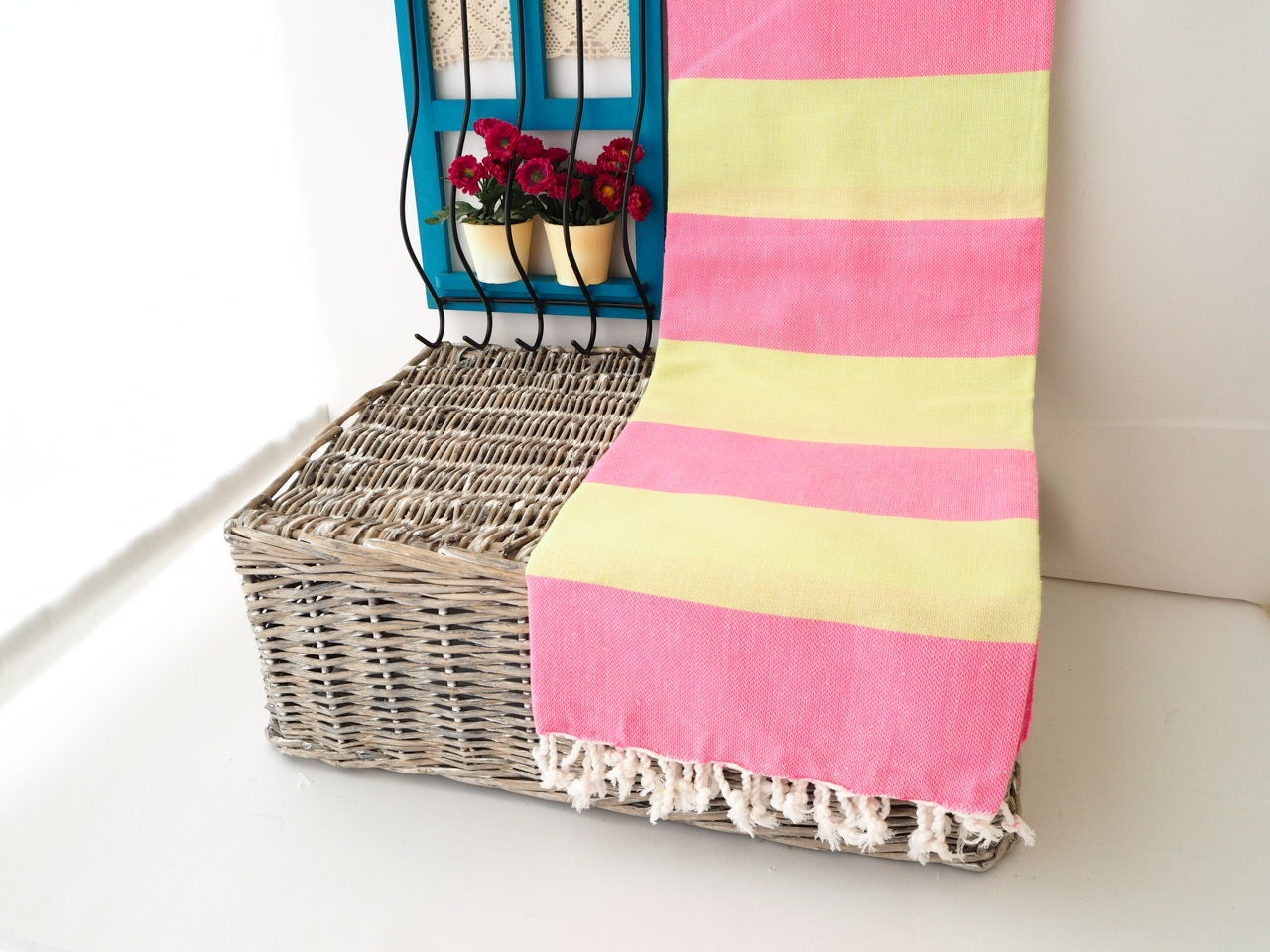 Pistachio Green and Pink Turkish TowelGreen and Pink Beach