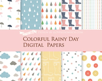 Rainy Day Digital Paper Pack - Instant Download - DP067