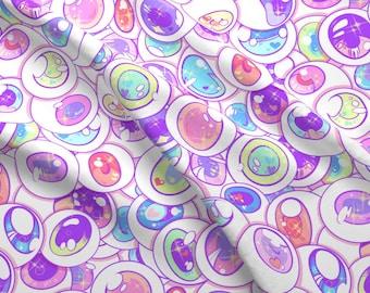 Anime Eyeballs Fabric - Kawaii Balls By Paisleyhansen - Anime Eyeballs Kawaii Pink Purple Green Cotton Fabric By The Yard With Spoonflower