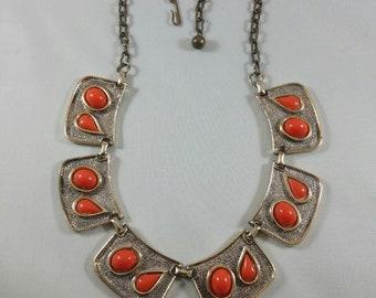 Vintage Egyptian Revival Hammered Gold Tone Orange Cabochon Bib Collar Necklace