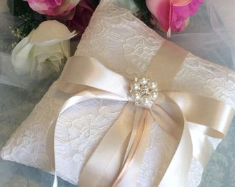 Ring Bearer Pillow, Ivory Ring Pillow, Gold Ring Pillow, Satin Ring Pillow, Champagne Wedding Ring Pillow, Lace Ring Pillow