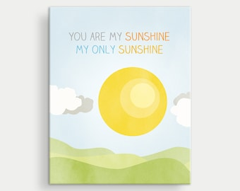 You Are My Sunshine Canvas, Nursery Decor Wall Art, Baby Shower Gift, Gender Neutral Baby Room, Nursery Decor Girl, Nursery Art Boy