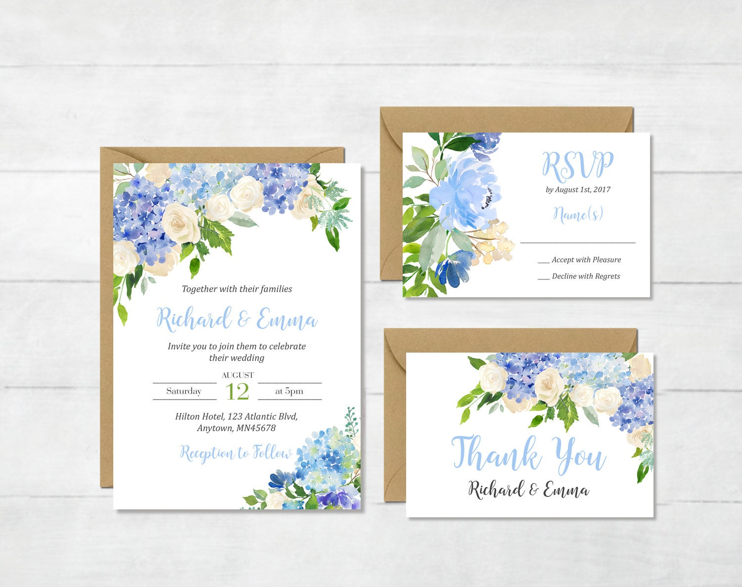 Blue Cream Floral Printable Wedding Invitation Suite Boho