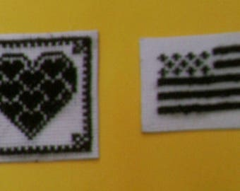 Set of 2 magnets - breton flag and heart