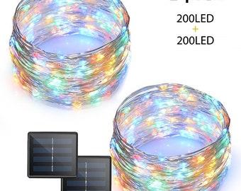 2 PACK 200 LEDs Solar 72ft. Copper Wire Led String Lights Waterproof (Multi Color  2-Pack)