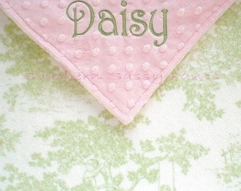 Baby Girl Baby Blanket - Personalized Toile Minky Baby Blanket ,  Shabby Chic Baby Girl Blanket , Crib Size Blanket 36x52