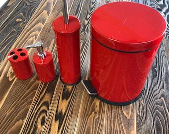 Bathroom Set-Bath Set-Bathroom Accessories-Bathroom Organizer-Cup and Soap dispenser-Red Painted Bathroom Decor