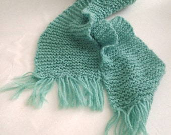 Child's mint green Kelly green scarf