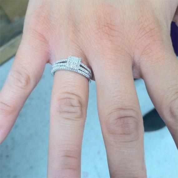 Princess Cut Diamond Engagement Ring Halo Diamond Ring .75CT