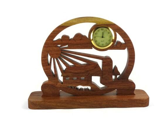 Farm Barnyard Scene Desk Clock Handmade From Mesquite Wood By KevsKrafts