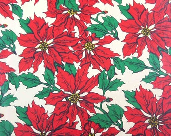 Vintage Red and Green Christmas Wrapping Paper or Gift Wrap with Poinsettias
