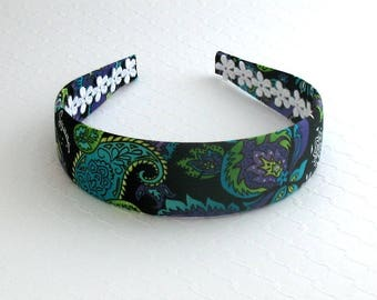 Adult Headband, Fabric Covered Headband, Girls Headband, Paisley Headband, Womens Headband, Wide Headband, Plastic Headband, Preppy Headband