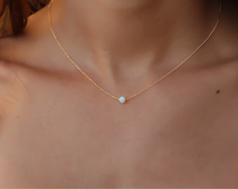 Gold necklace, Opal Necklace ,Opal jewelry, White Opal necklace silver opal Necklace, Tiny Silver necklace, Dainty Necklace, White jewelry