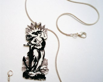 Amphitrite Goddess Queen of the Sea Illustration Pendant Necklace
