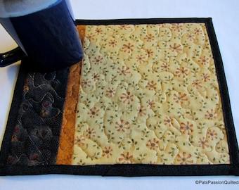 Quilted Primitive Mug Rug Mini Place Mat Set of 2 Black Orange Gold Green