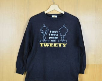Vintage Sweater Cartoon Looney Tunes Tweety Sweet Bird Sweatshirt