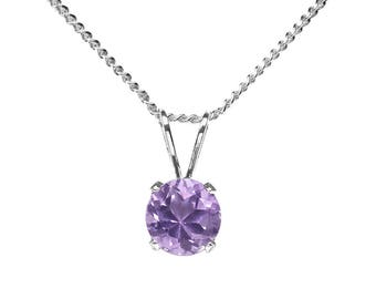 6mm Round Faceted Genuine Lilac / Pink Amethyst 925 Sterling Silver Pendant + Chain / Necklace