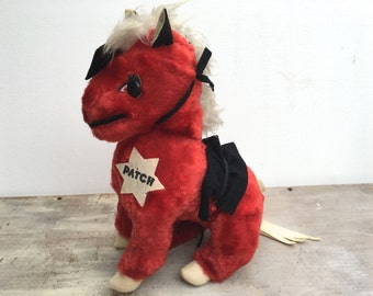 """Vintage Stuffed Horse """"Patch"""" By Rushton Atlanta Red Stuffed Animal Horse Lovers"""