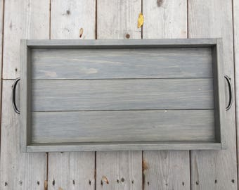 Rustic Wooden Serving Tray, Farmhouse Home Decor, Rustic Ottoman Tray