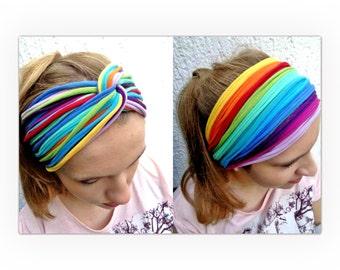 Rainbow  Headband / Dreadband / Head wrap / Gypsy hairband  / Cotton Tribal Stripes / Hippie Necklace / Boho Headband / Tie Dyed Headband