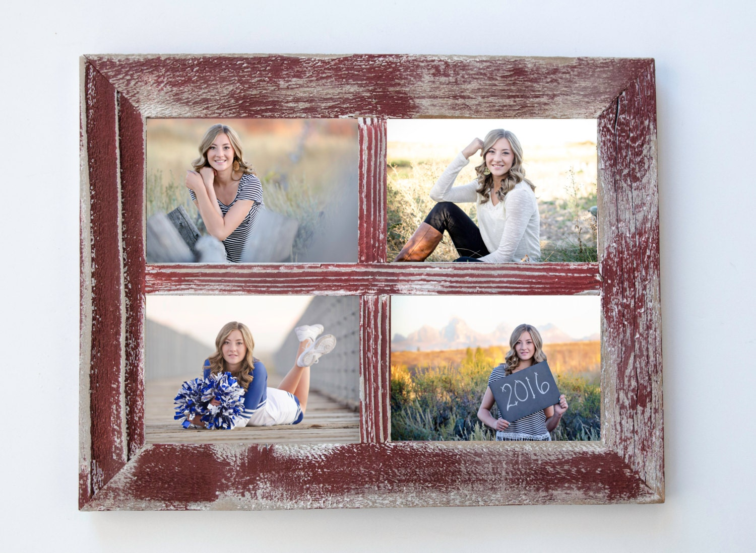 5x7 red rustic picture frame collage frame window frame shabby 5699 jeuxipadfo Gallery