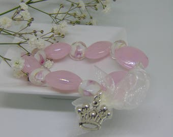 "Daughter of the King beaded bracelet with pink glass beads & crown charm. (Ephesians 2:19-22) ""...remember to whom you belong""."