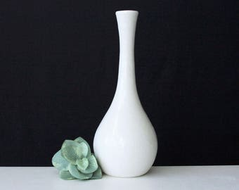 White Porcelain Stem Vase - Handmade Pottery Bottle White