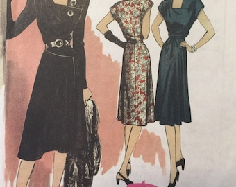 Vintage 40s Repro Asymmetrical Noir Style Dress Sewing Pattern 5281 6 8 10 12