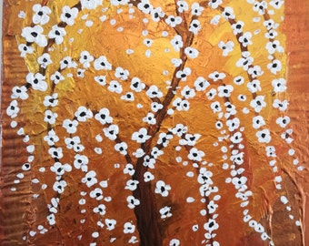 The Golden Temple Tree, Abstract, Painted, Acrylic, Original, Handmade, WallArt, Home Decoration, 20 X 14 inch, By Attilio