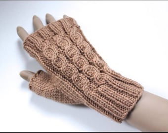 Knitting Pattern for Amberley Cabled Fingerless Gloves (0045) - Size for Adults and Teens - Permission to sell finished products