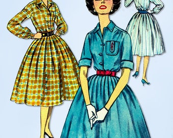 1950s Vintage Simplicity Sewing Pattern 2627 Misses Shirtwaist Dress Size 34 B